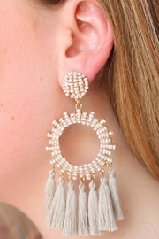 Gemma Collection Grey Statement Earrings - Front cropped