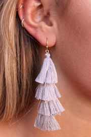 Gemma Collection Grey Tassel Earrings - Product Mini Image