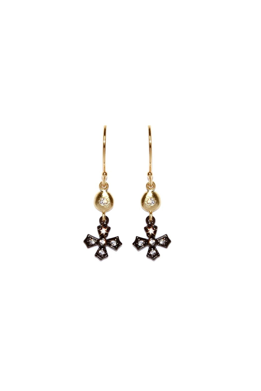 Gemma Collection Gunmetal Cross Earrings - Front Cropped Image