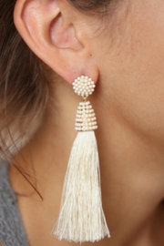 Gemma Collection Ivory Tassel Earrings - Product Mini Image