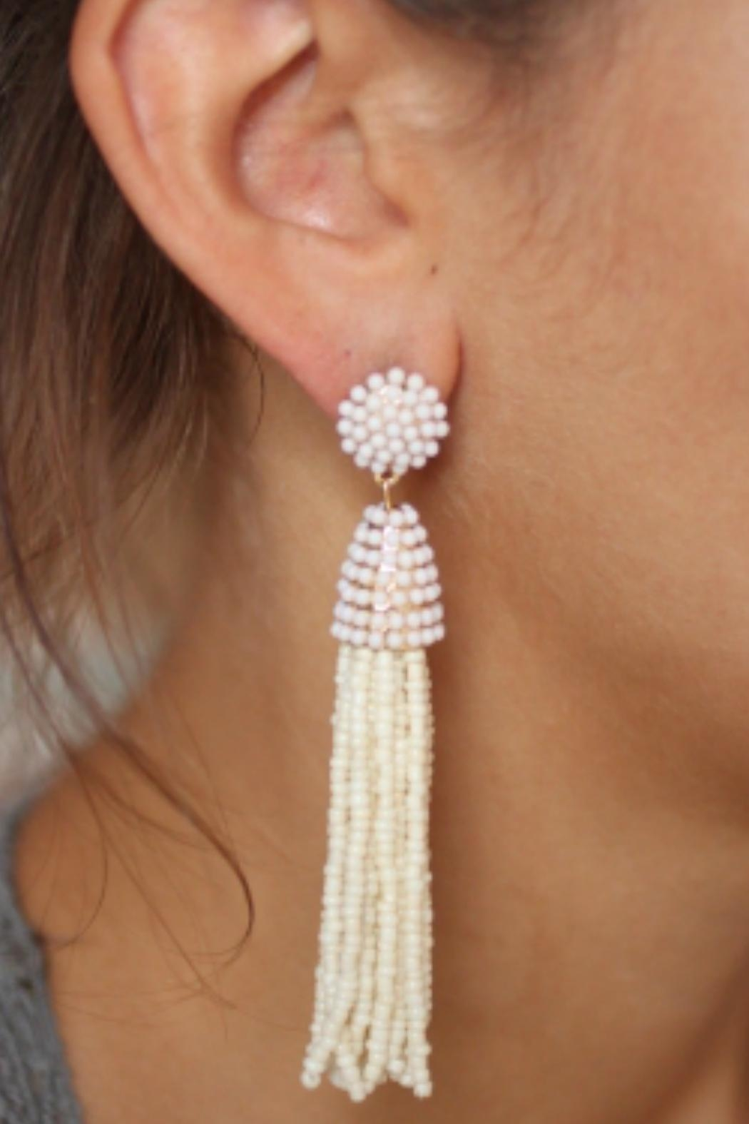 Gemma Collection Ivory Tassel Earrings - Main Image