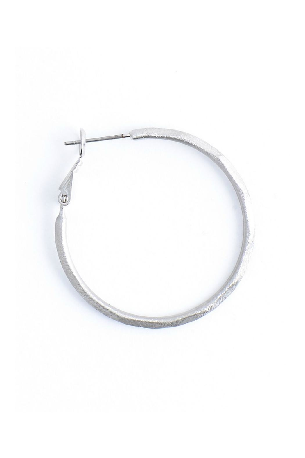 Gemma Collection Large Hammered Hoop Earrings - Front Full Image