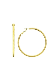 Gemma Collection Large Textured Hoops - Front cropped