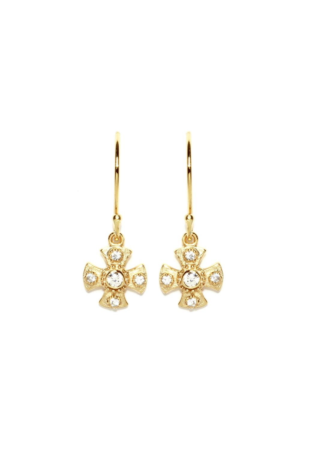 Gemma Collection Maltese Cross Earrings - Front Cropped Image