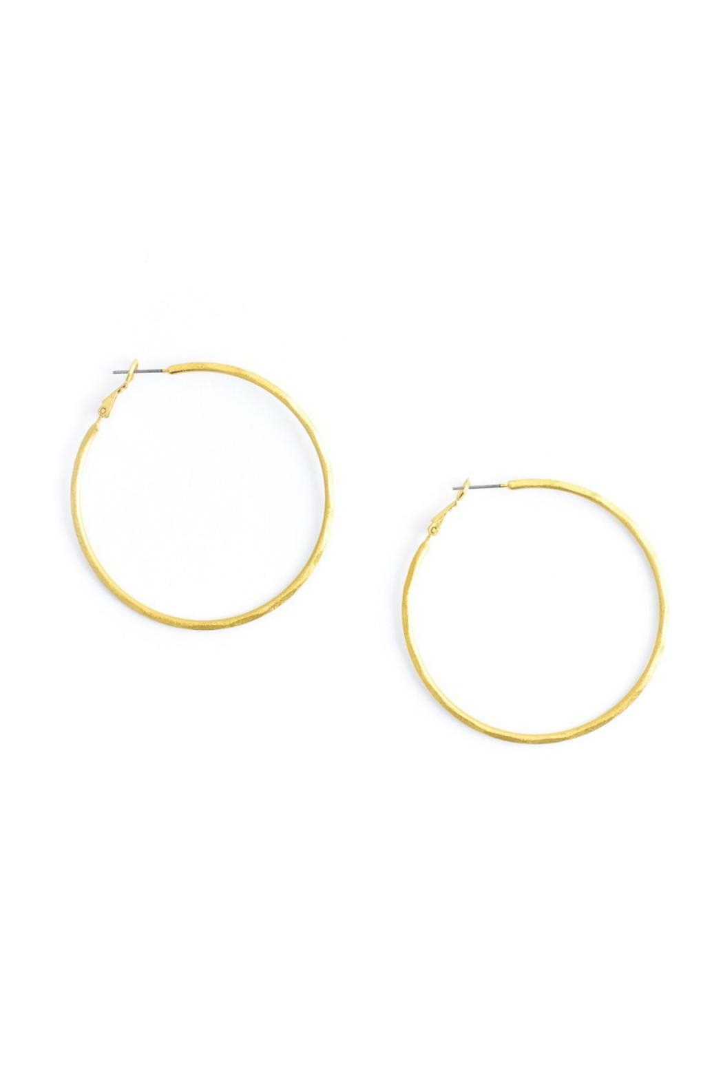 Gemma Collection Gold Hammered Hoop Earrings - Main Image