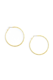 Gemma Collection Gold Hammered Hoop Earrings - Front cropped