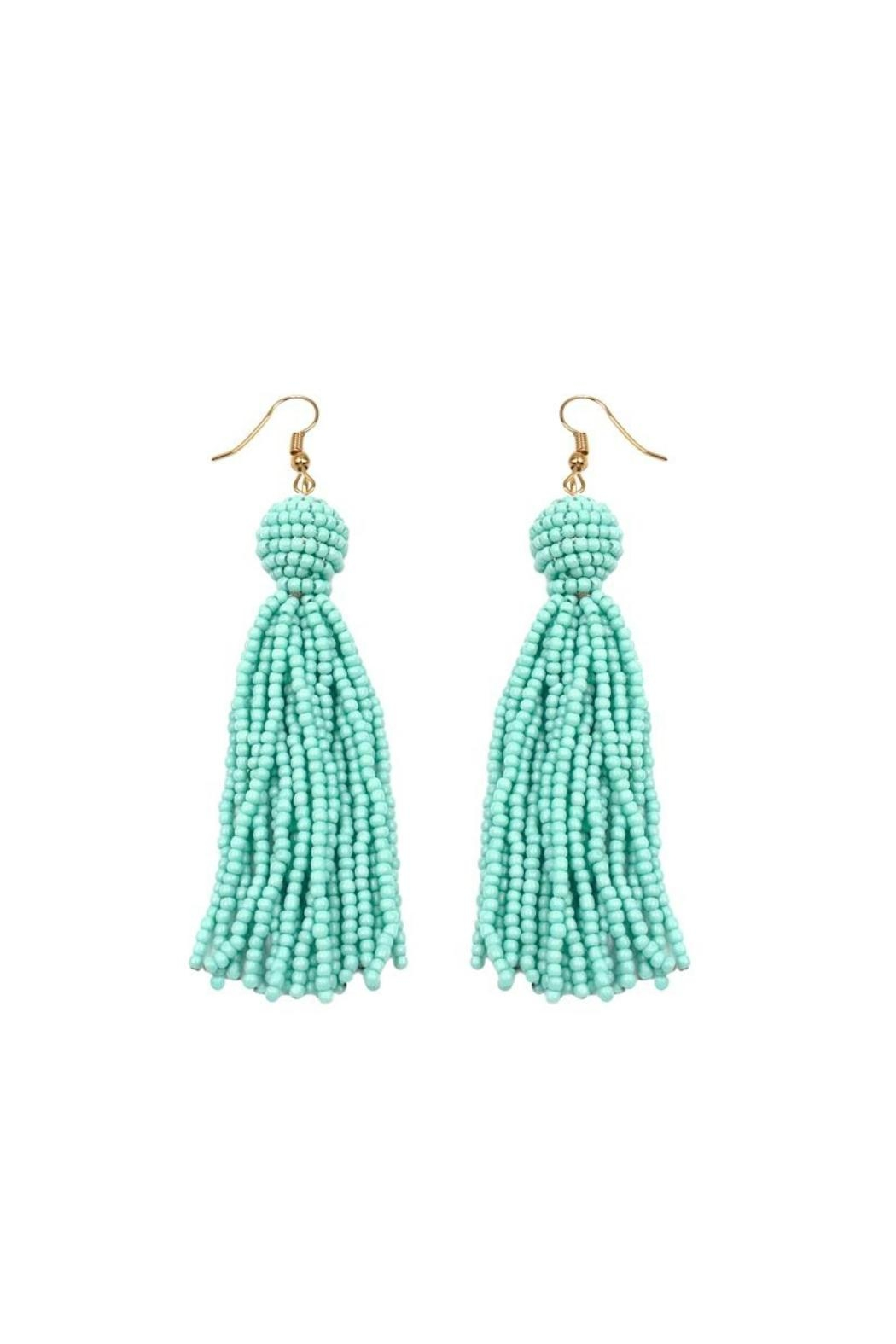 Gemma Collection Mint Tassel Earrings - Front Cropped Image