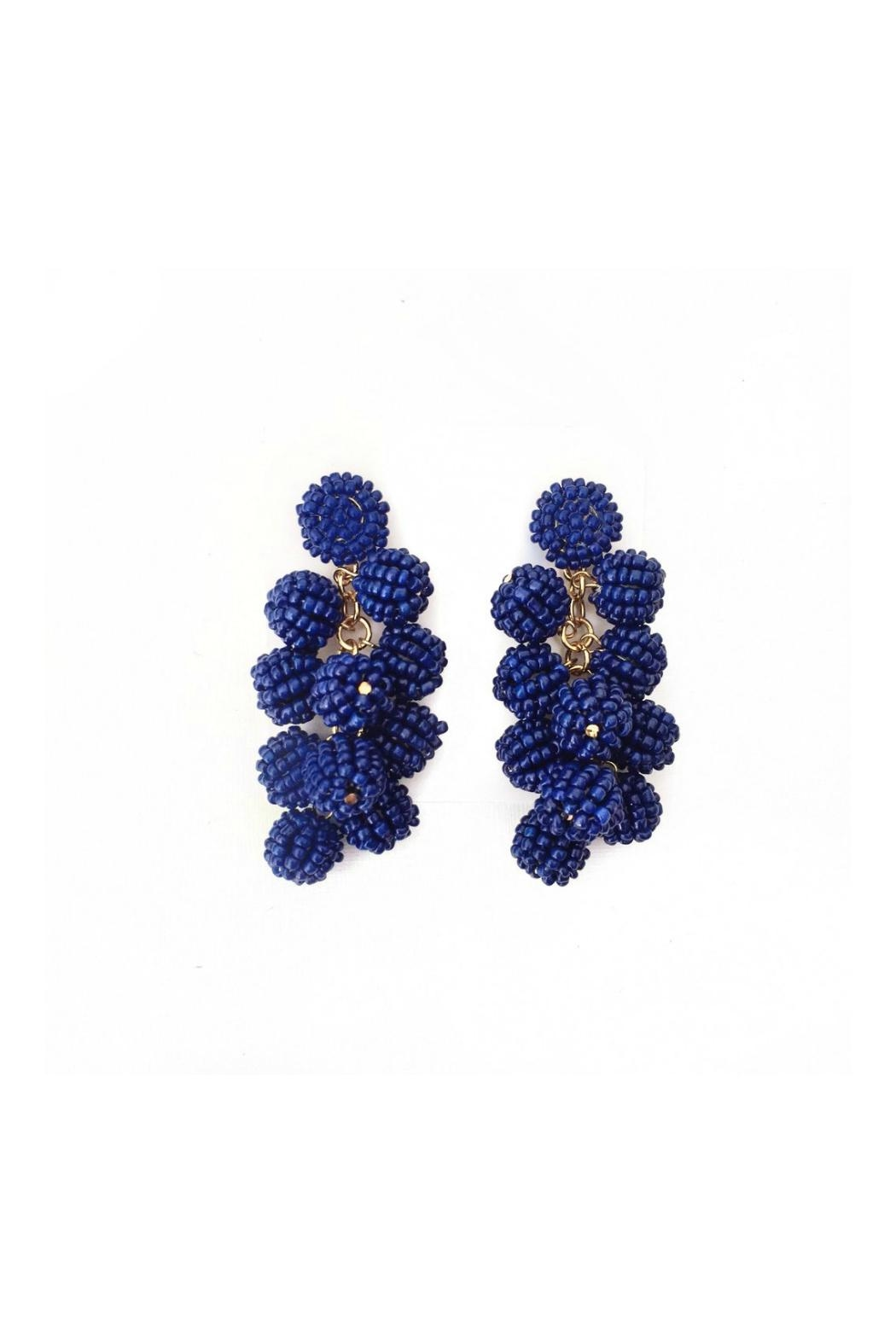 Gemma Collection Navy Ball Earrings - Front Full Image