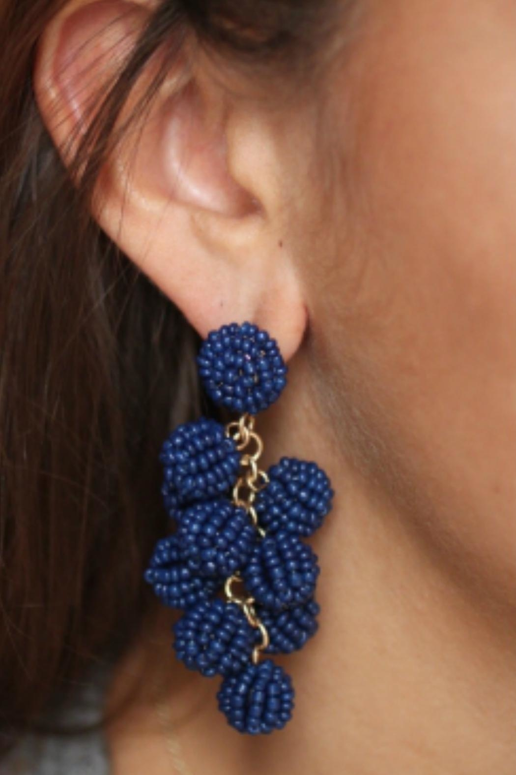 Gemma Collection Navy Ball Earrings - Main Image