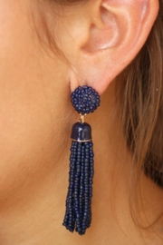 Gemma Collection Navy Tassel Earrings - Front cropped