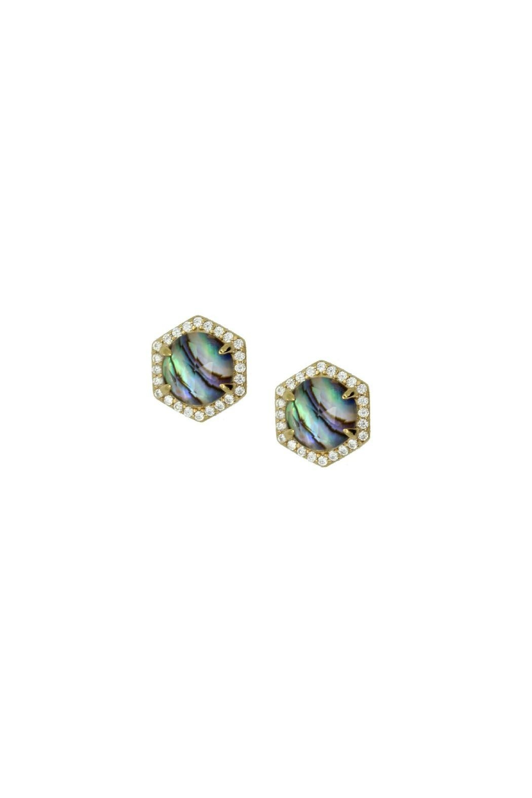 Gemma Collection Pave Abalone Earrings - Main Image