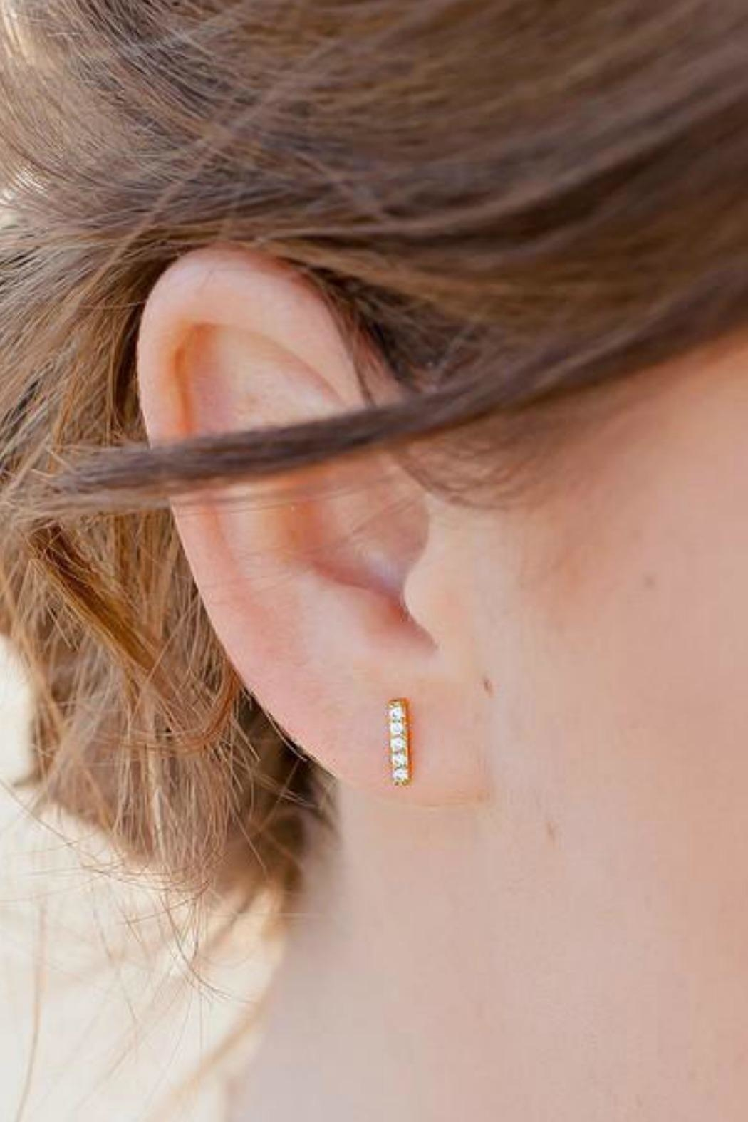 Gemma Collection Pave Bar Studs - Front Full Image