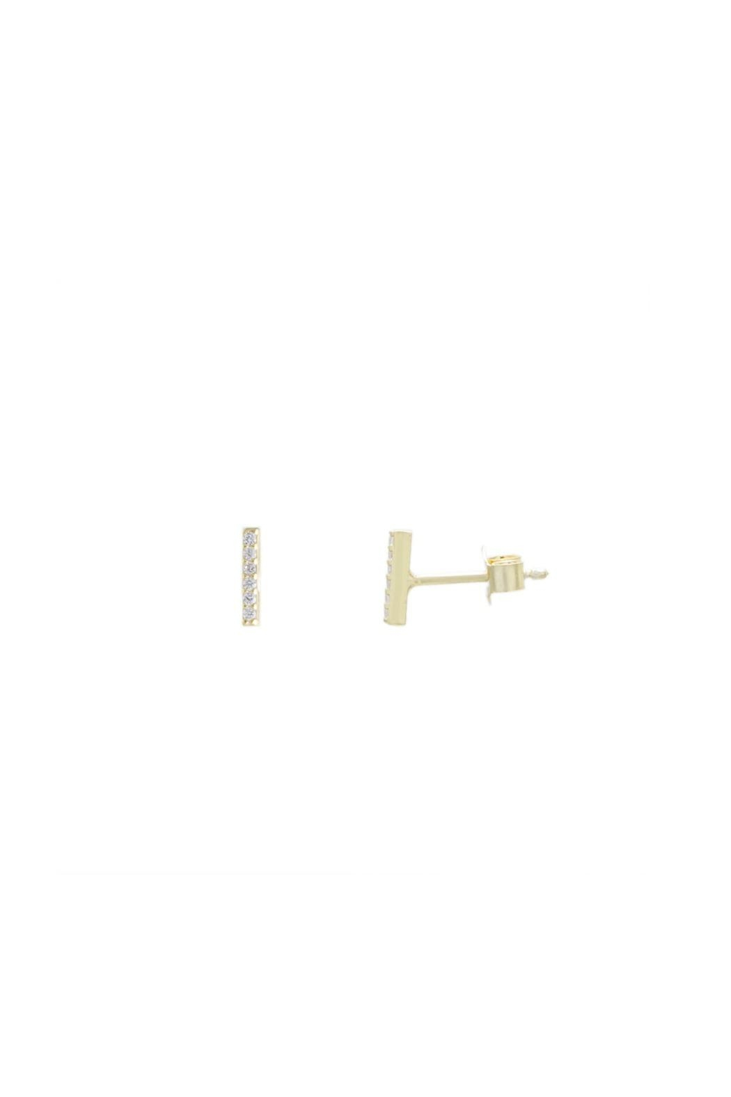Gemma Collection Pave Bar Studs - Front Cropped Image