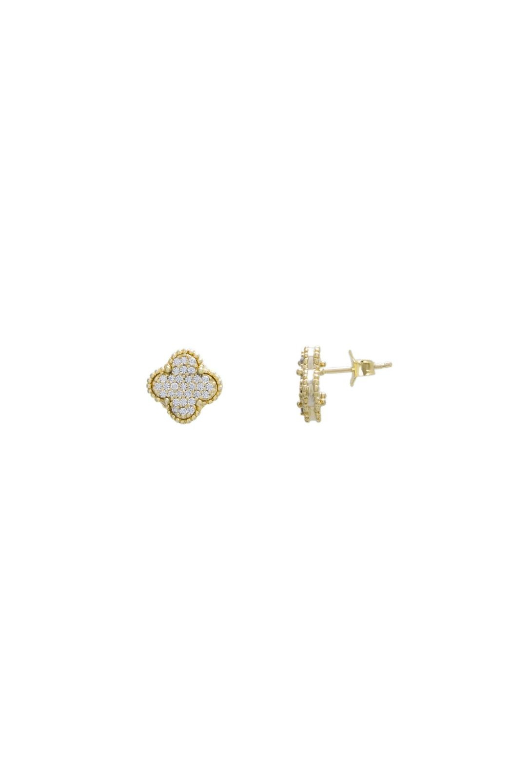 Gemma Collection Pave Clover Stud Earrings - Main Image