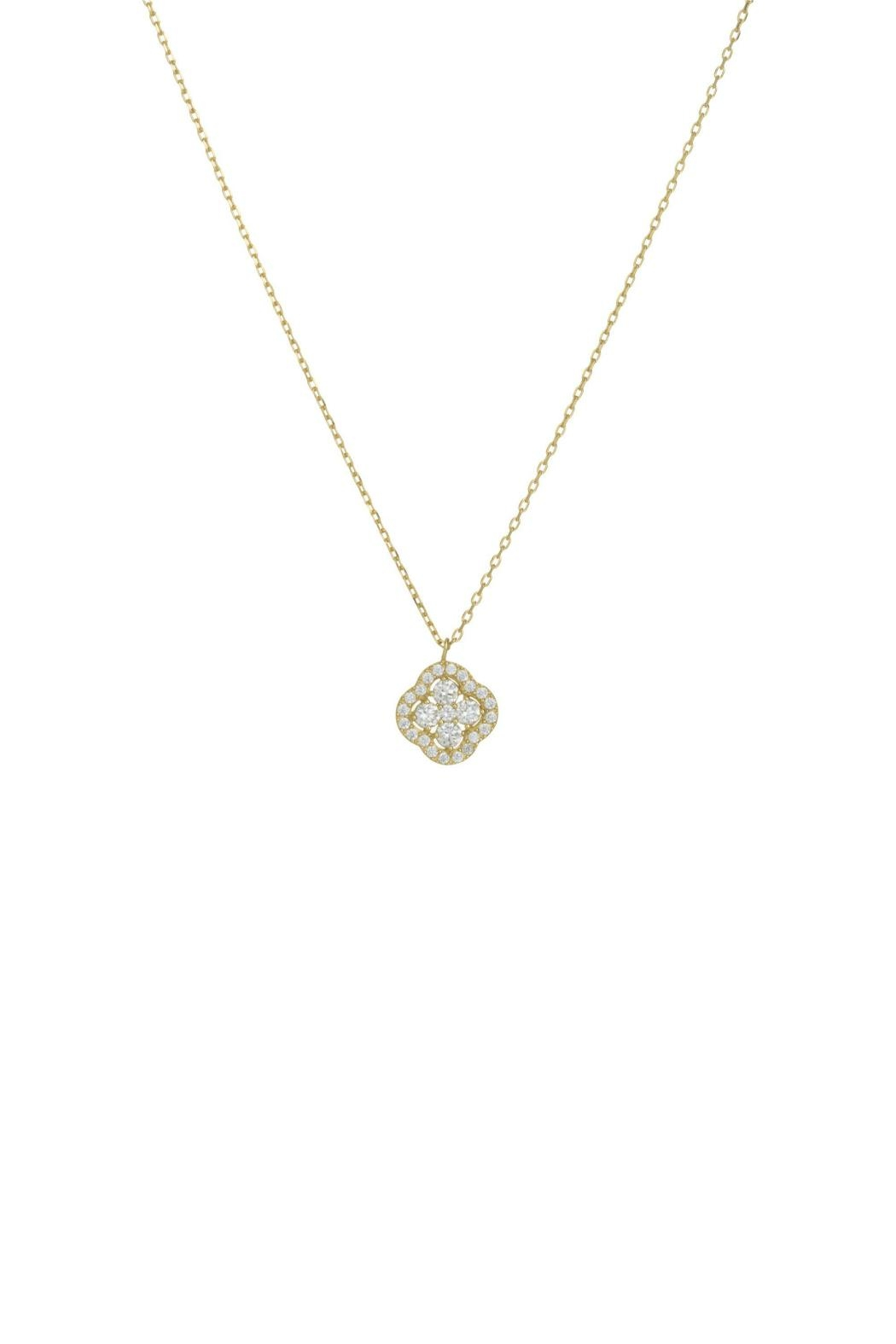 Gemma Collection Pave Flower Necklace - Main Image