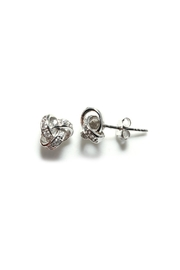 Gemma Collection Pave Knot Stud Earrings - Front cropped