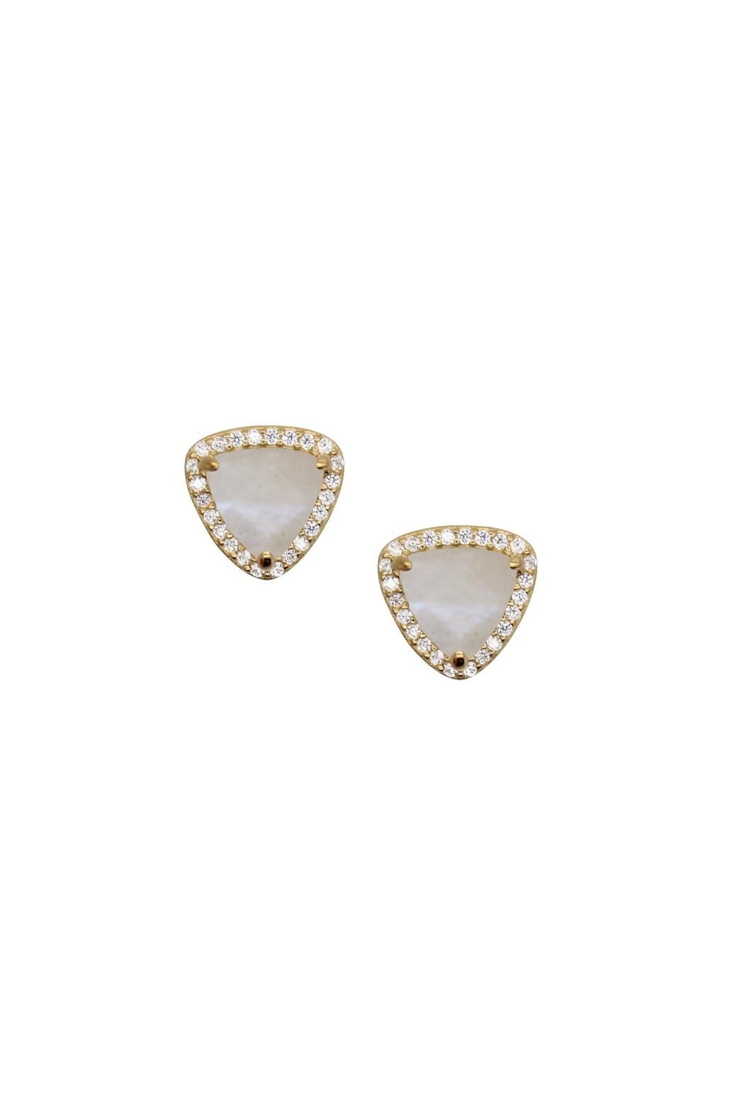 Gemma Collection Pave Moonstone Stud Earrings - Main Image