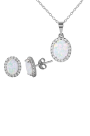 Gemma Collection Pave Opal Necklace Set - Product Mini Image