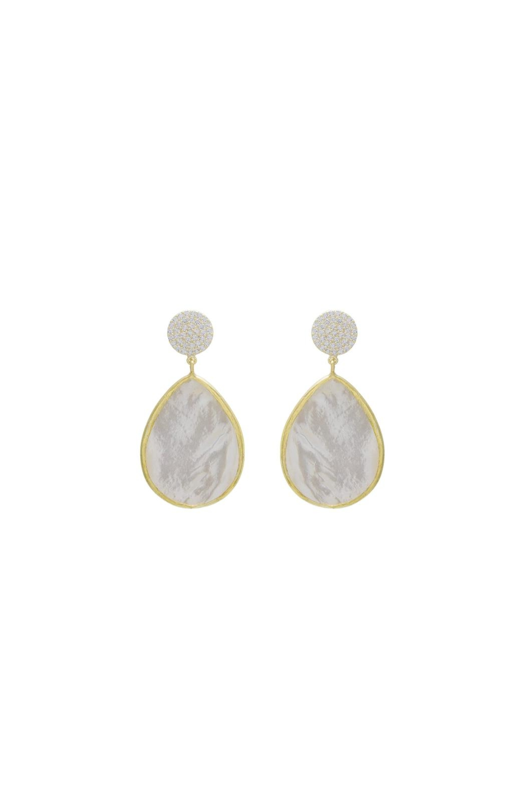 Gemma Collection Pave Pearl Earrings - Main Image