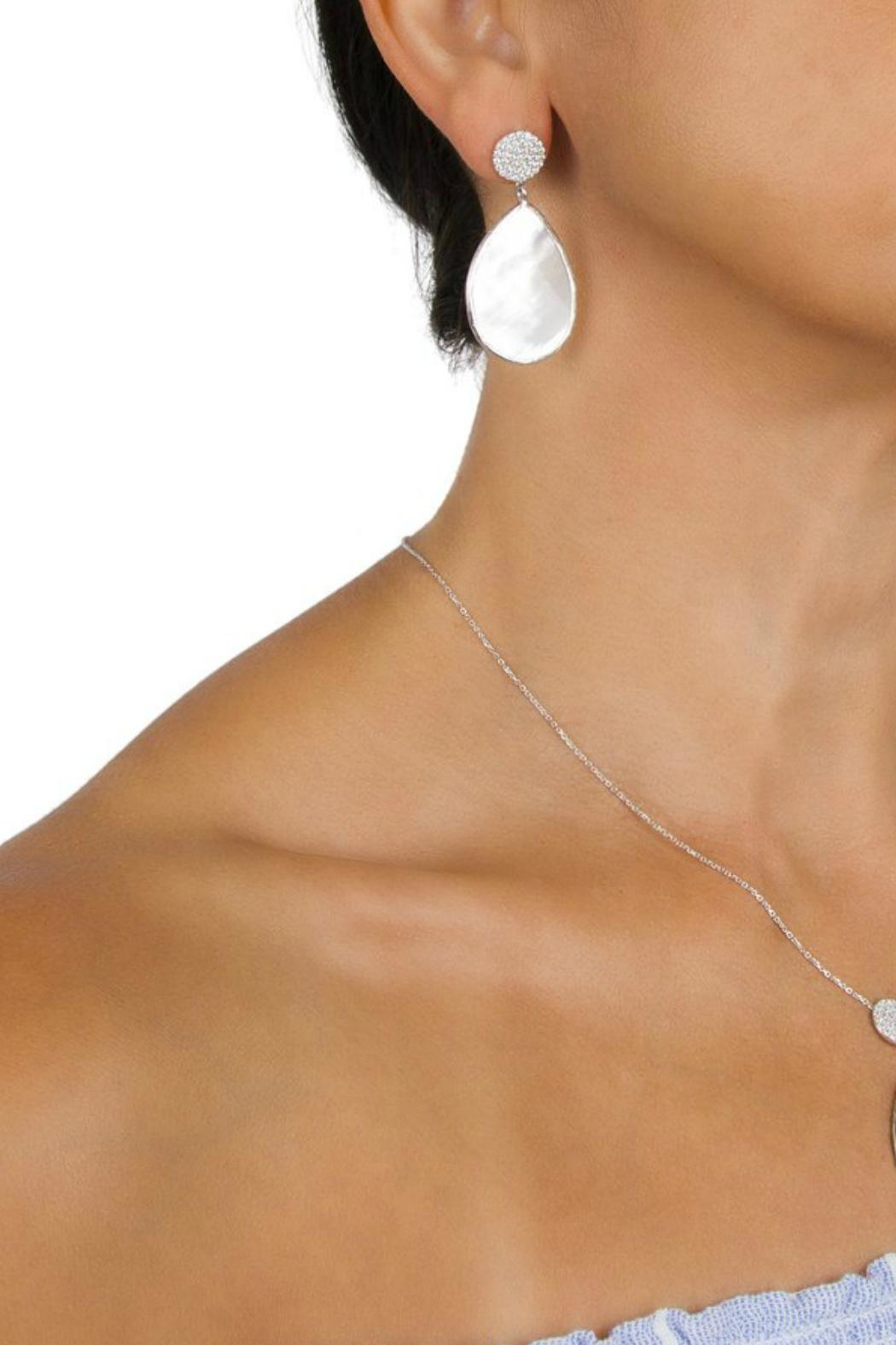 Gemma Collection Pave Pearl Earrings - Front Full Image