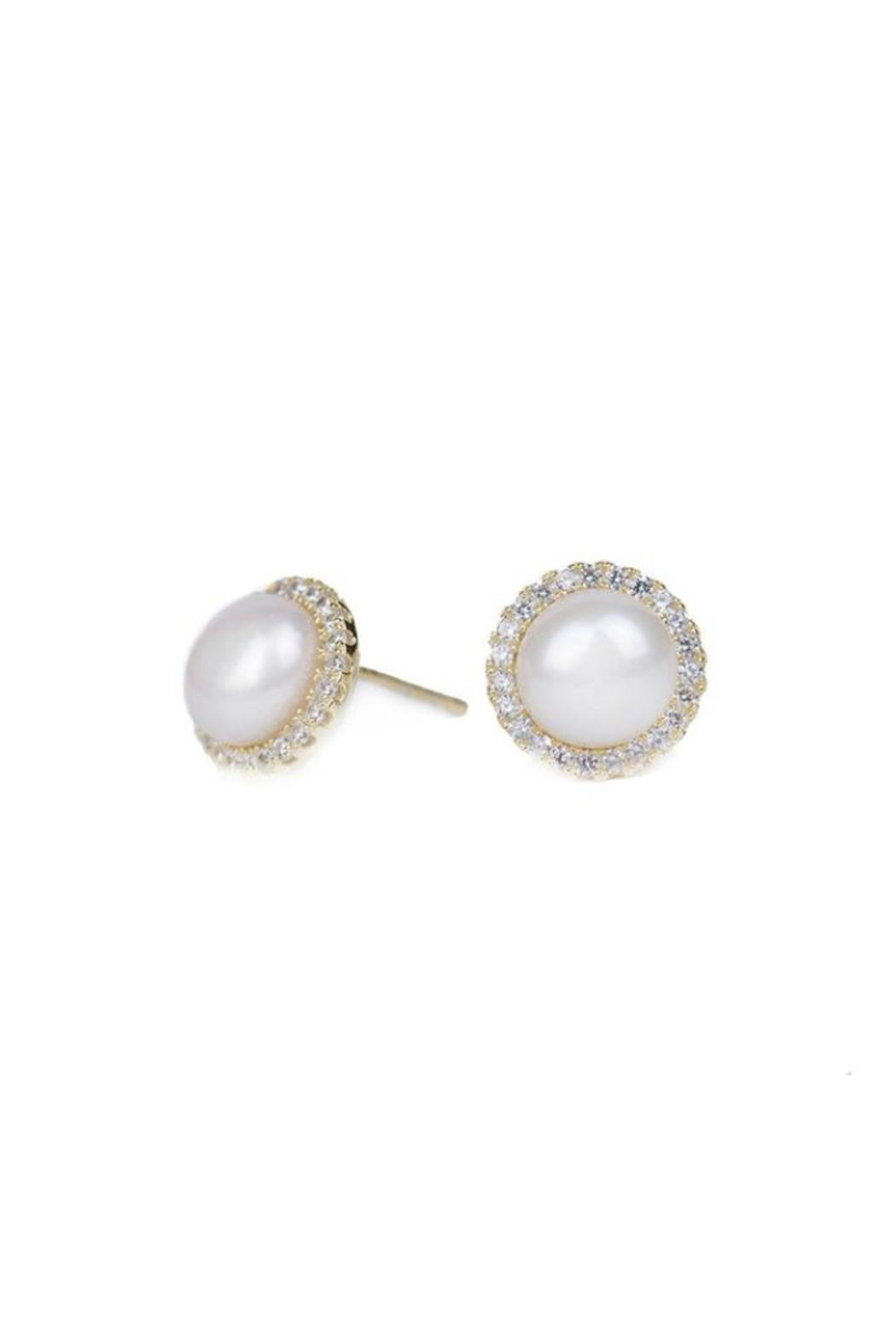 Gemma Collection Pave Pearl Studs - Front Full Image