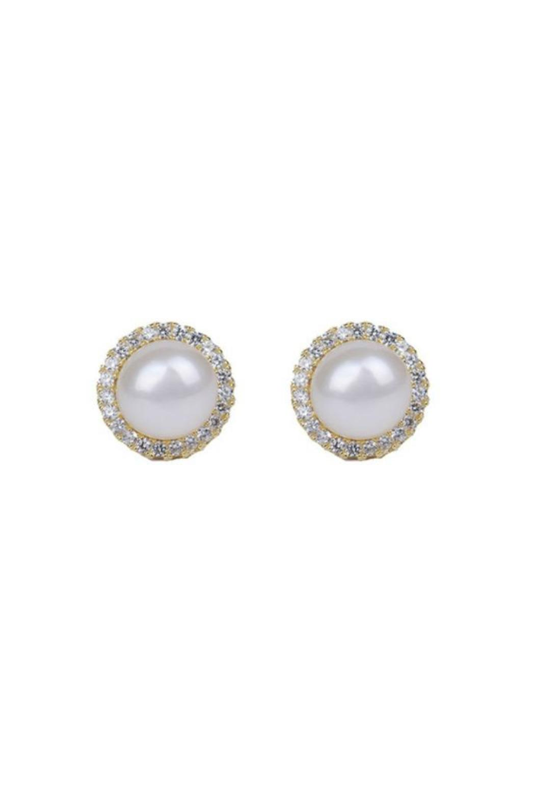 Gemma Collection Pave Pearl Studs - Front Cropped Image