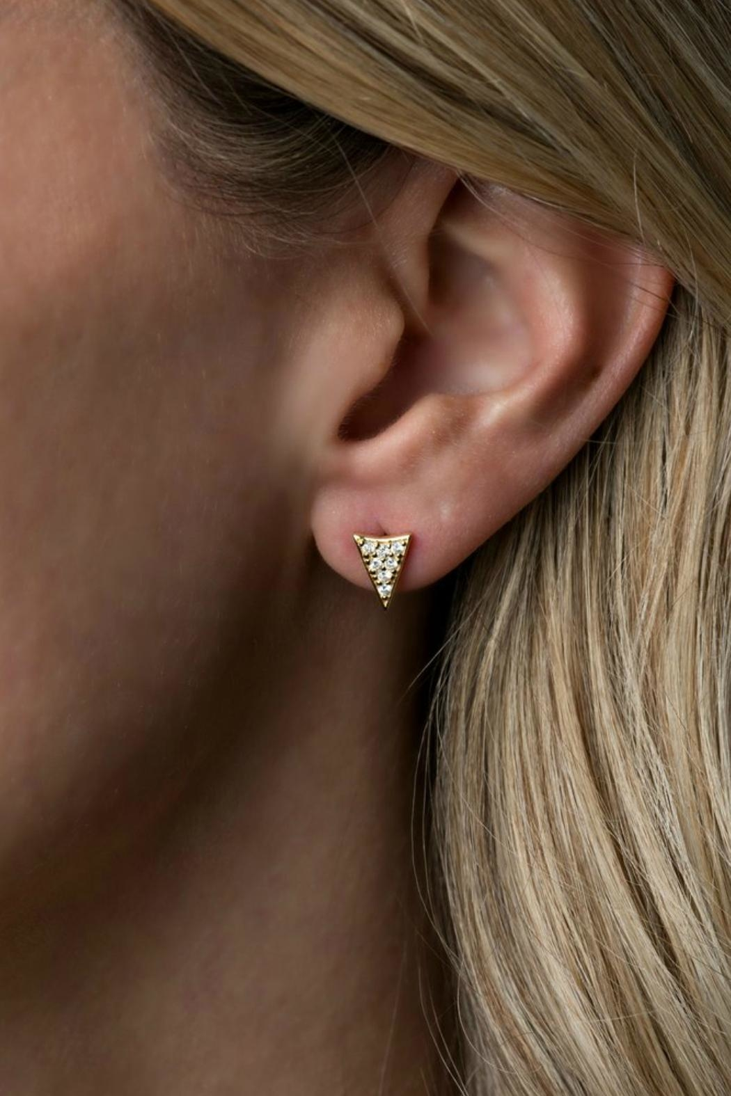 Gemma Collection Pave Spike Stud Earrings - Front Full Image