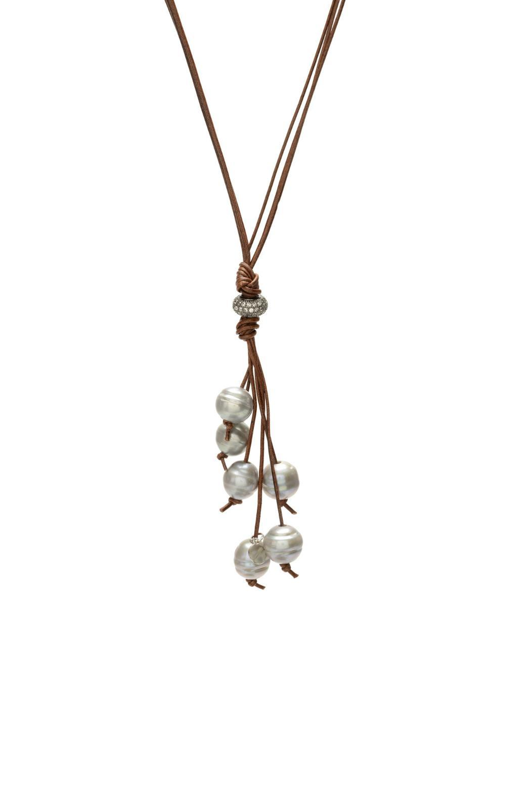Gemma Collection Pearl Tassel Necklace - Front Cropped Image