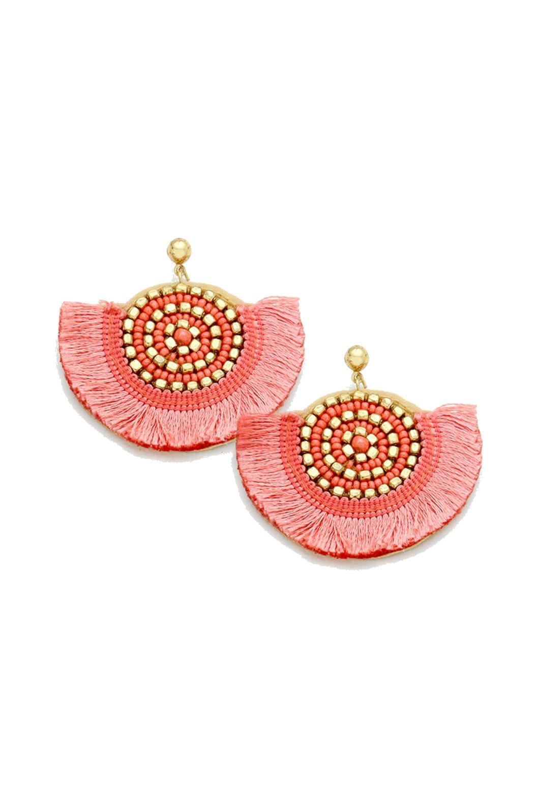 Gemma Collection Pink Fan Earrings - Front Cropped Image