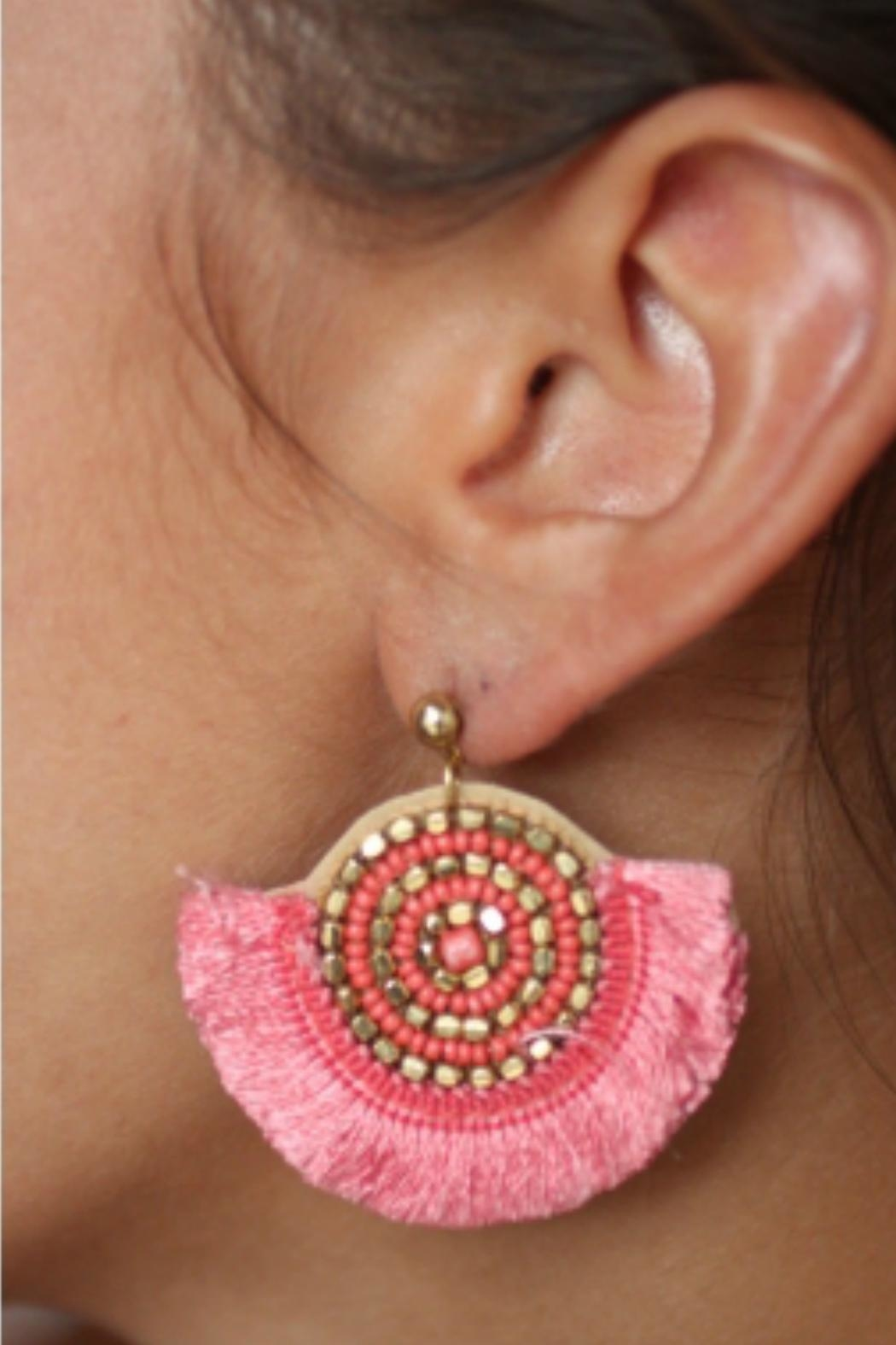 Gemma Collection Pink Fan Earrings - Front Full Image