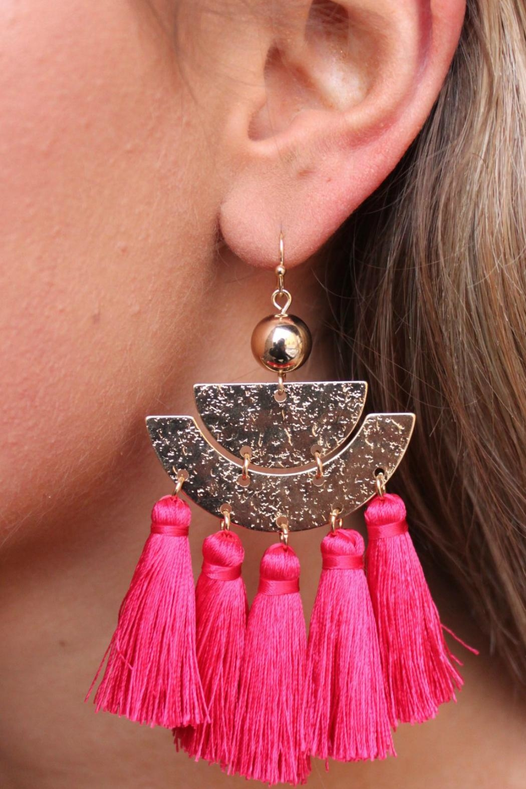Gemma Collection Pink Tassel Earrings - Main Image