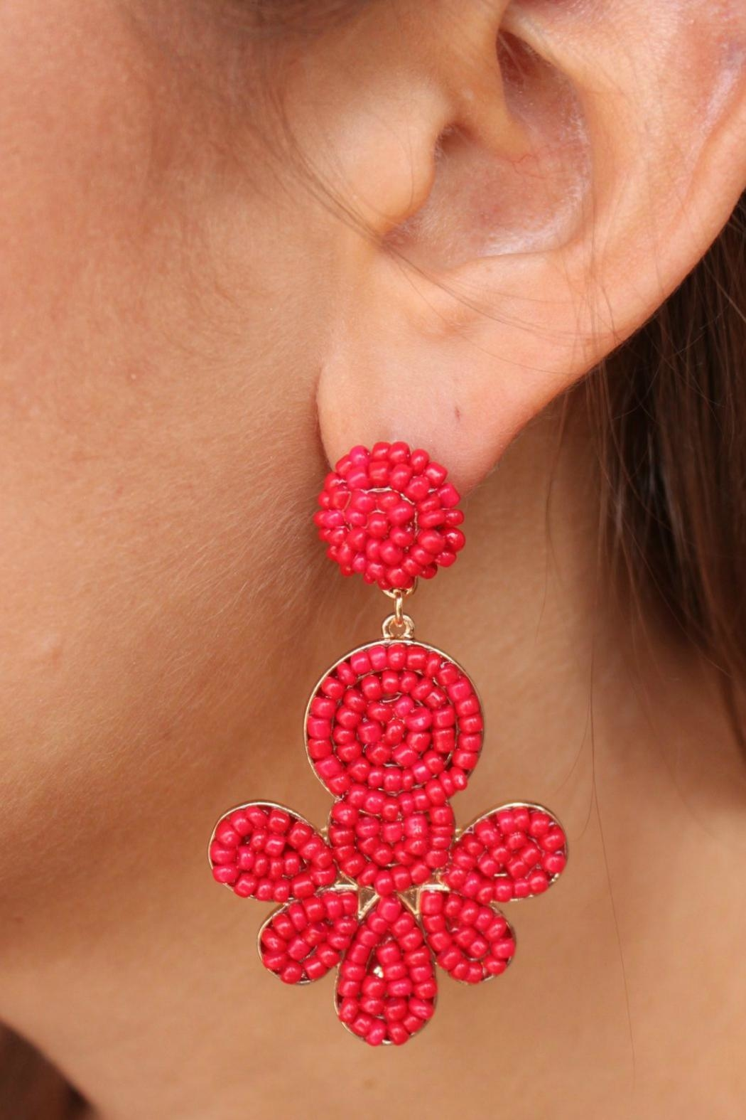 Gemma Collection Red Beaded Earrings - Main Image