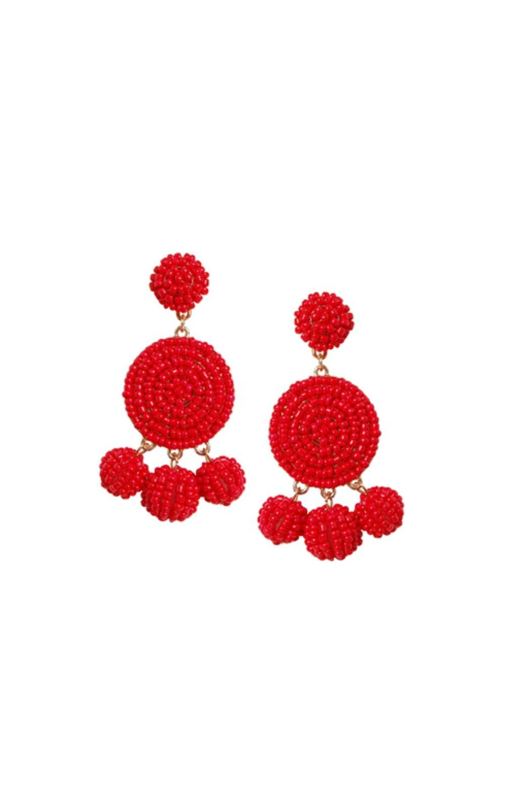 Gemma Collection Red Beaded Earrings - Front Cropped Image