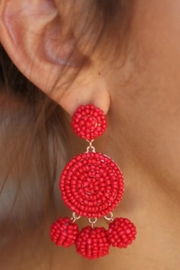 Gemma Collection Red Beaded Earrings - Product Mini Image