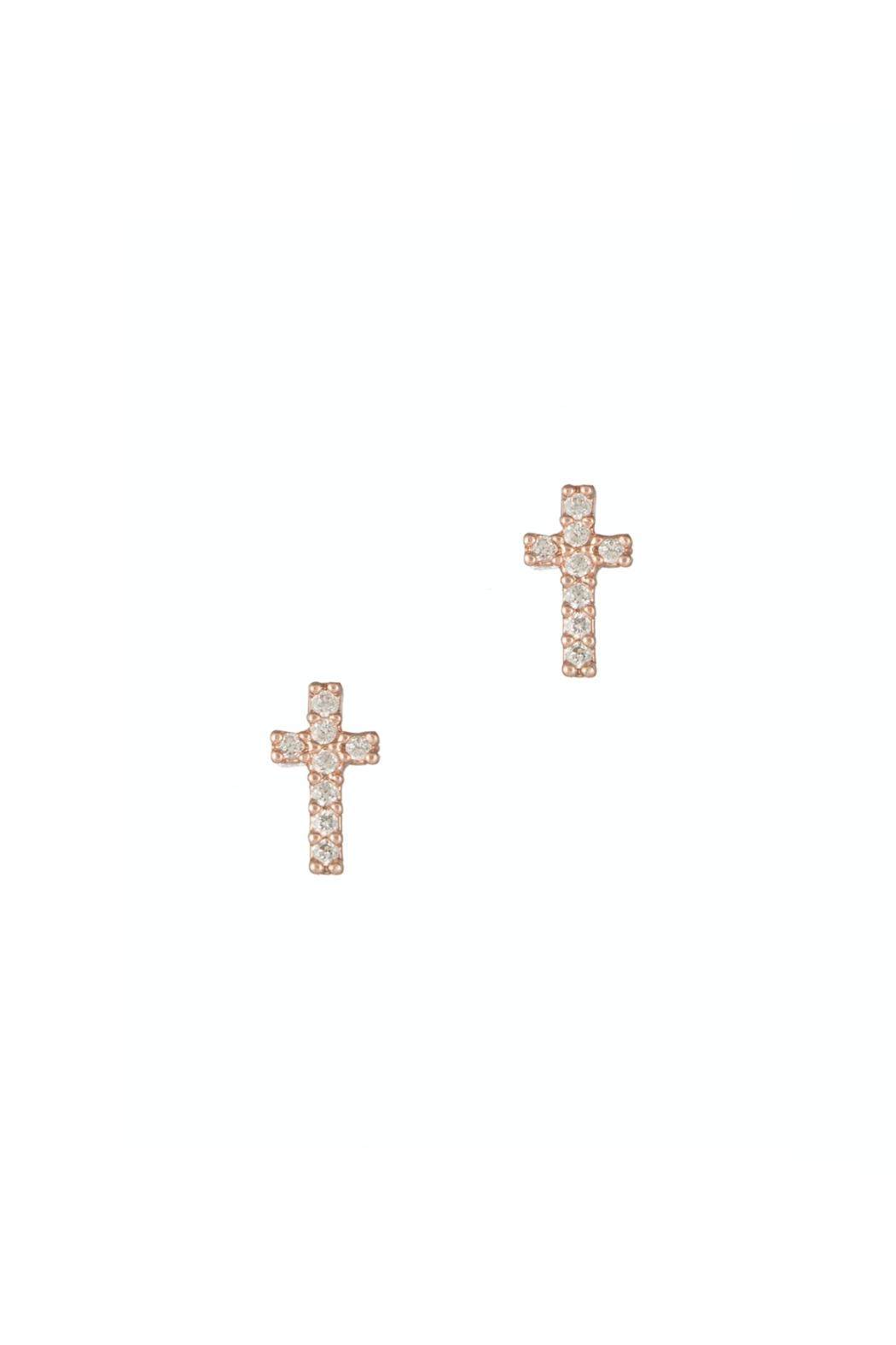 Gemma Collection Rose Cross Studs Earrings - Main Image