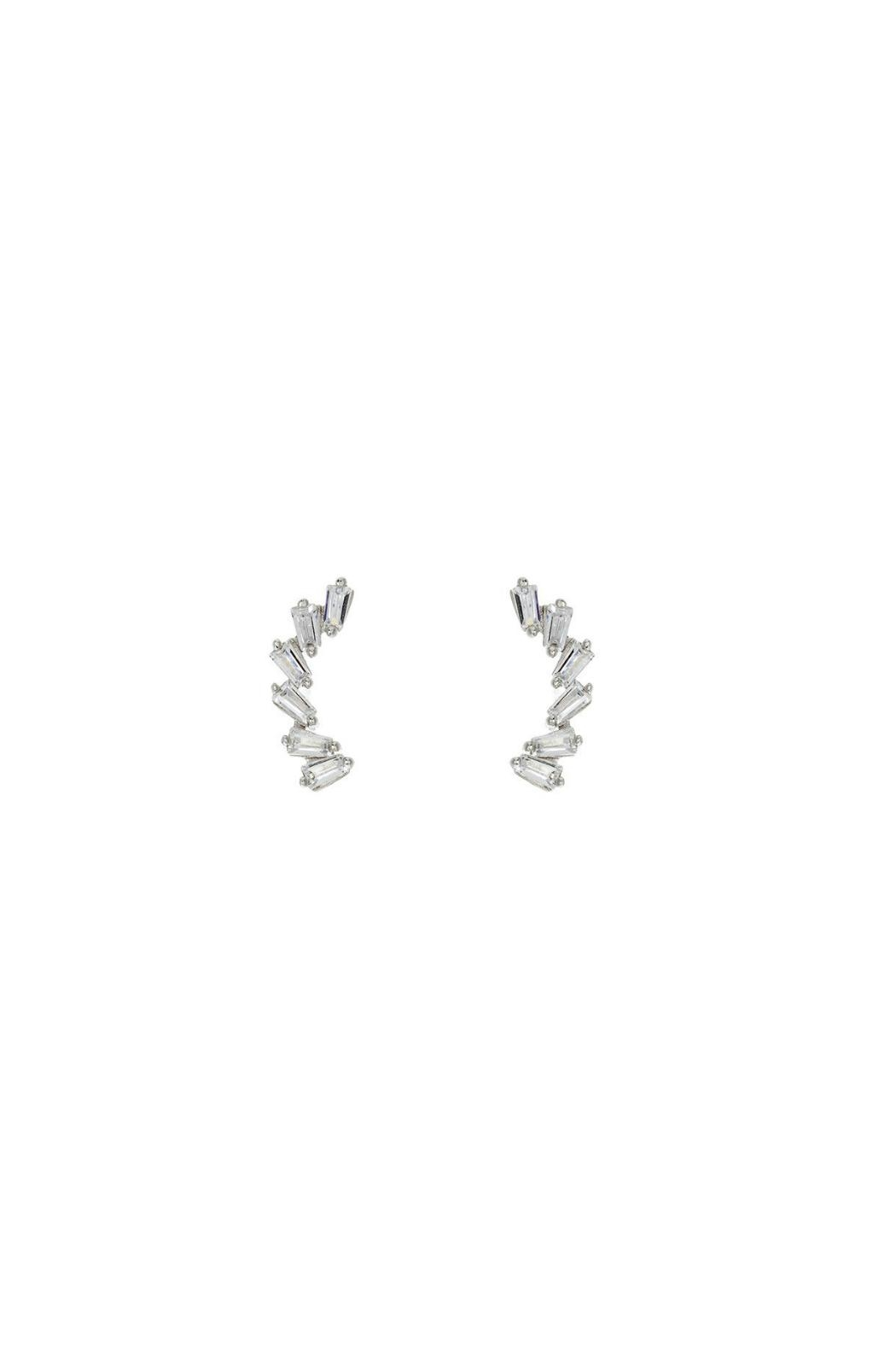 Gemma Collection Silver Baguette Climbers - Main Image