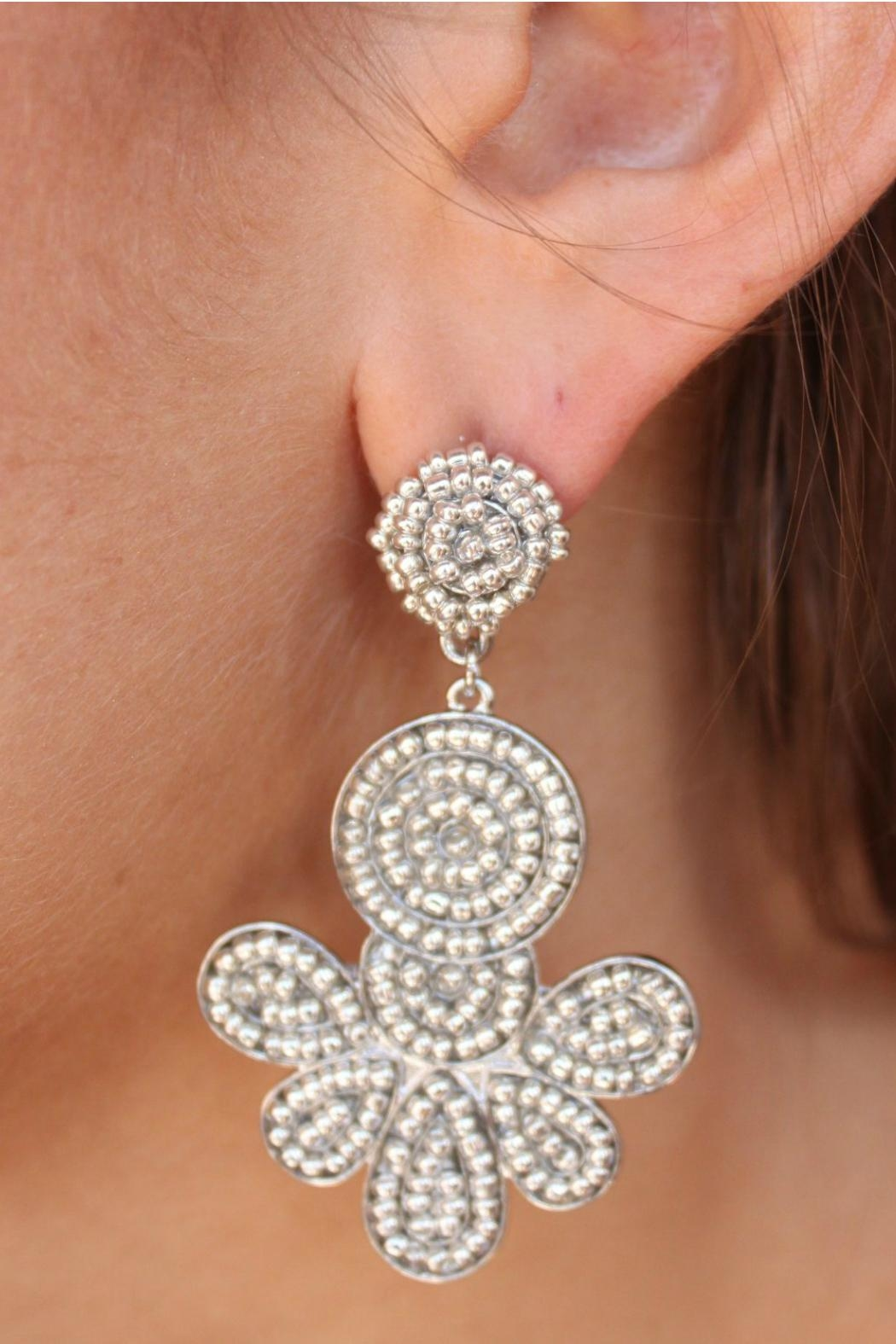 Gemma Collection Silver Beaded Earrings - Main Image