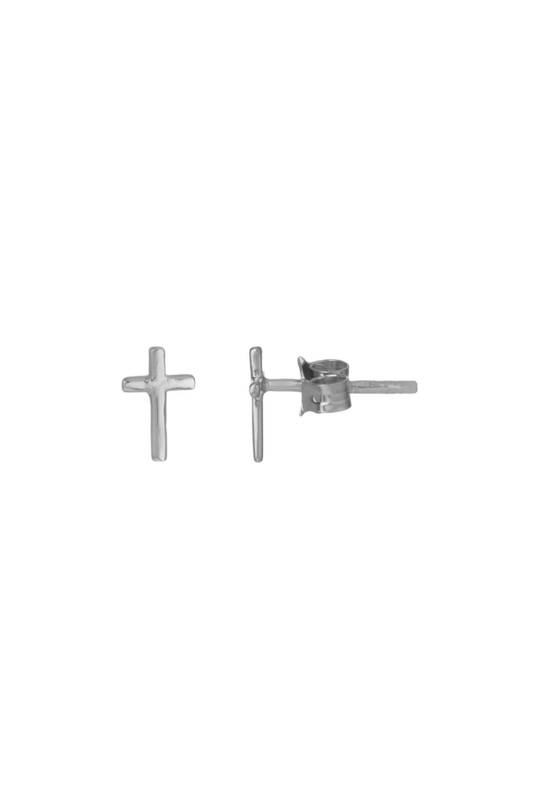 Gemma Collection Silver Cross Studs - Main Image
