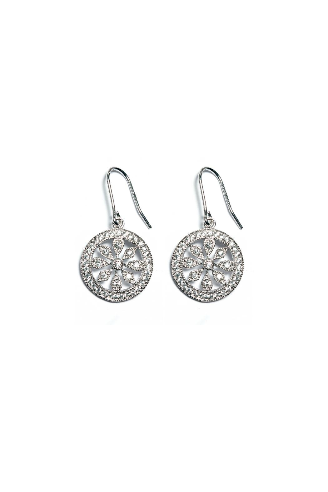 Gemma Collection Silver Pave Earrings - Main Image