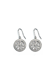 Gemma Collection Silver Pave Earrings - Front cropped