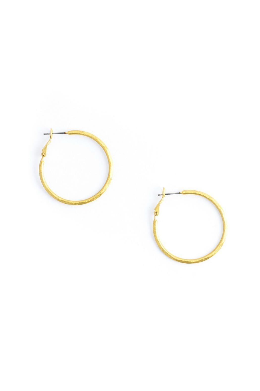 Gemma Collection Small Hammered Hoop Earrings - Main Image