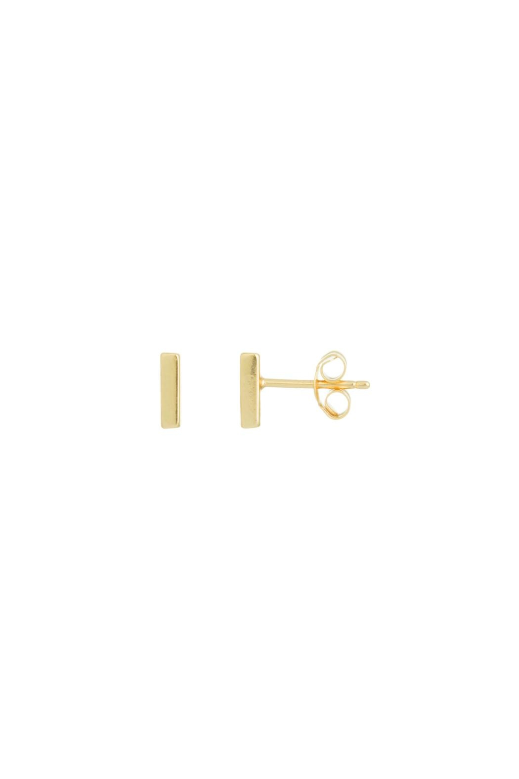 Gemma Collection Tiny Gold Bar Earrings - Main Image