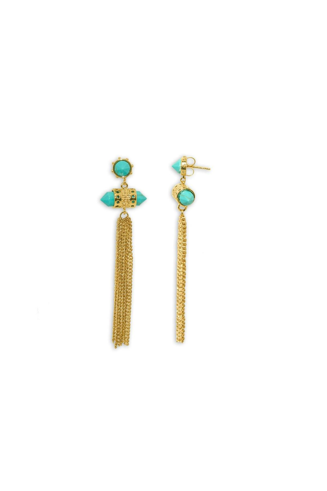 Gemma Collection Turquoise Tassel Earrings - Main Image