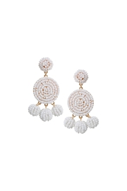Gemma Collection White Beaded Earrings - Product Mini Image