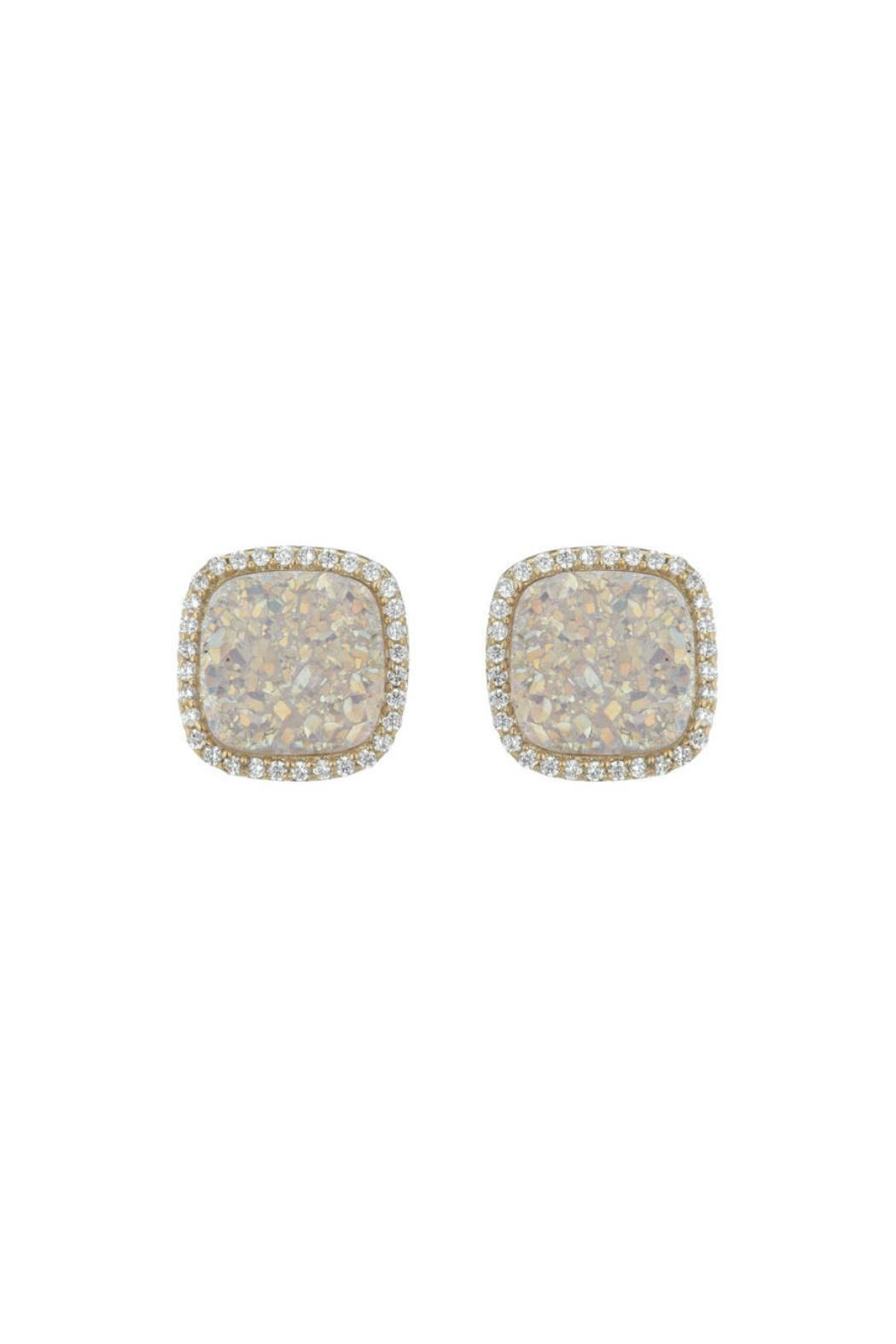 Gemma Collection White Druzy Studs - Main Image
