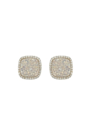 Gemma Collection White Druzy Studs - Front cropped