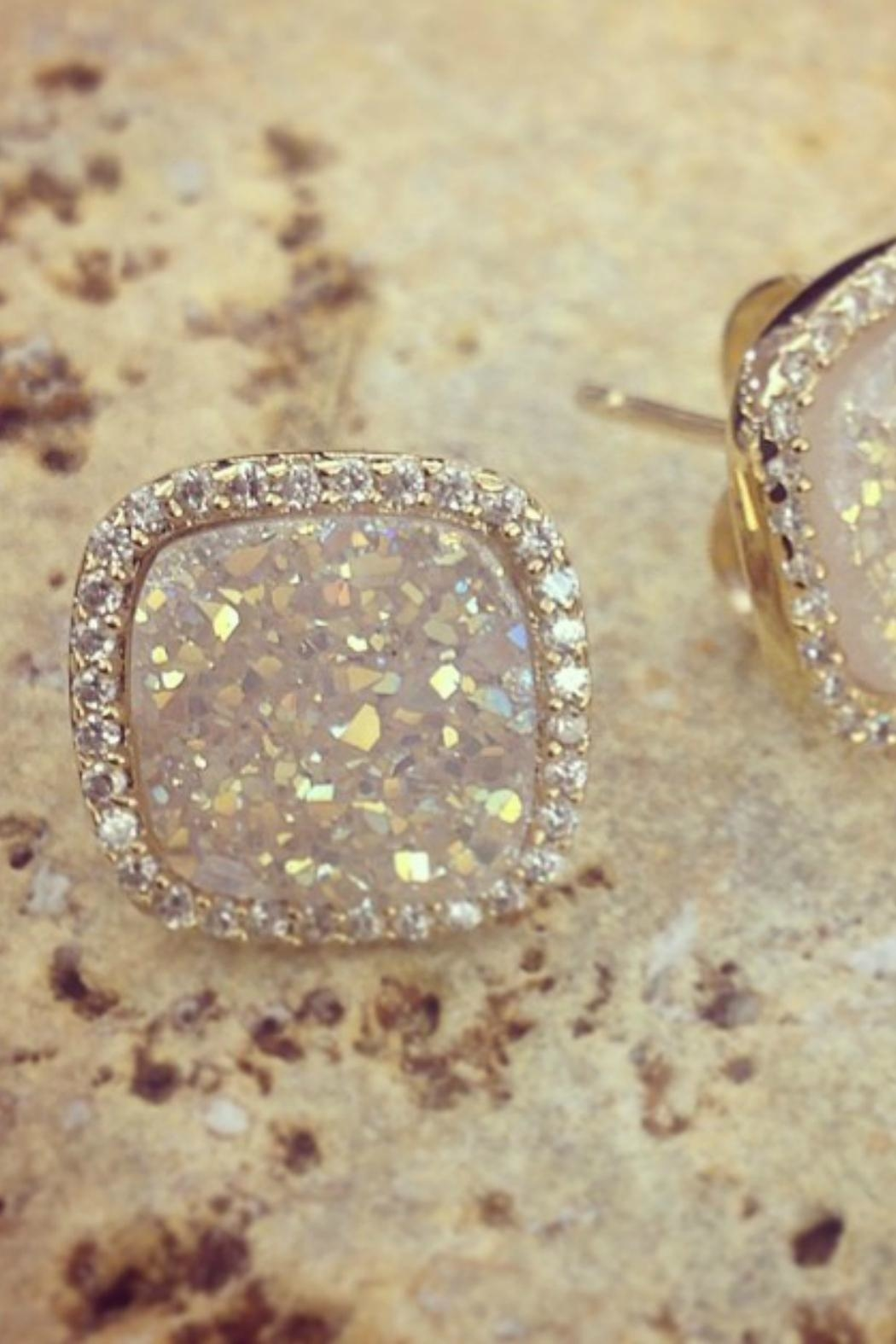 Gemma Collection White Druzy Studs - Front Full Image