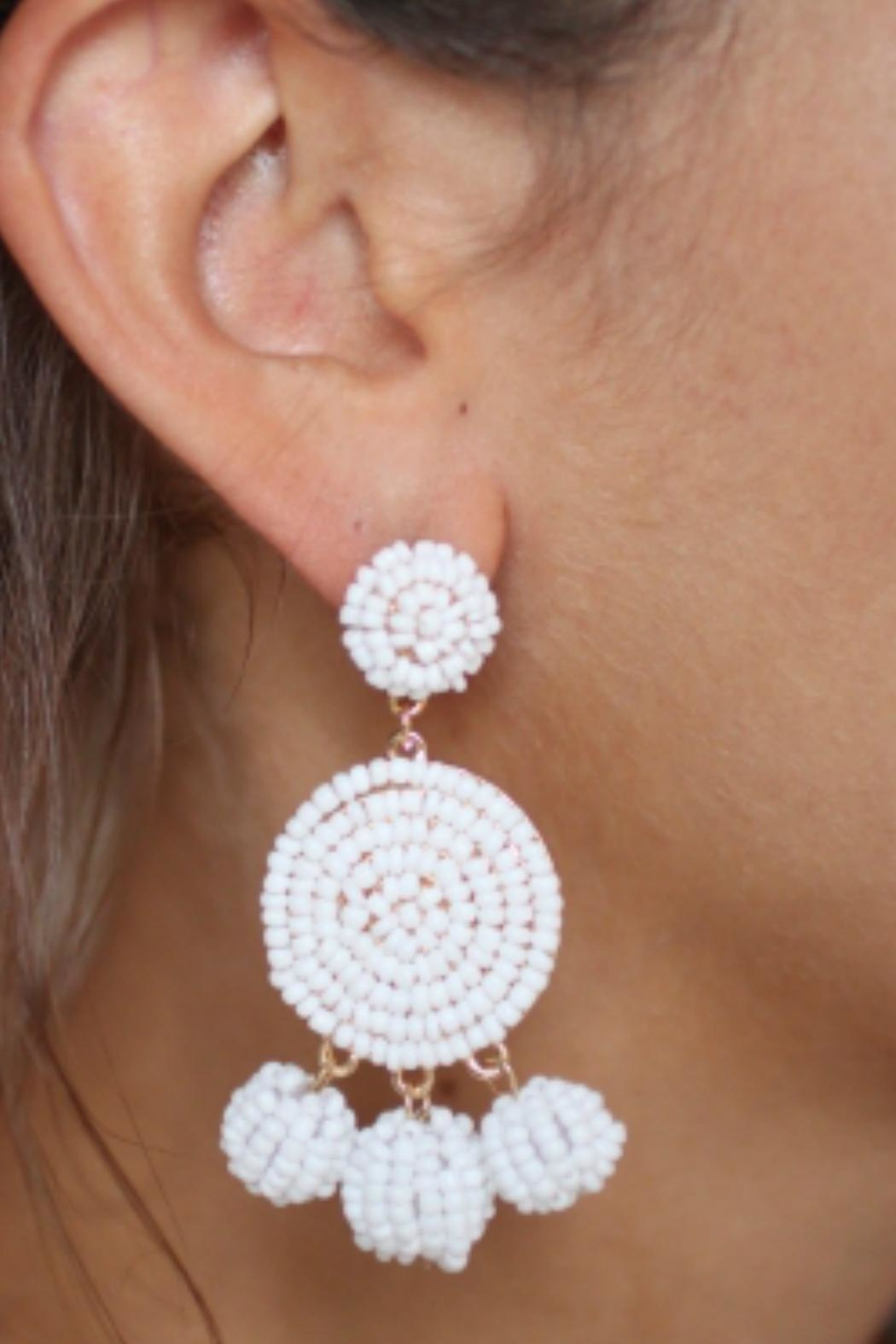 Gemma Collection White Eliano Earrings - Front Full Image