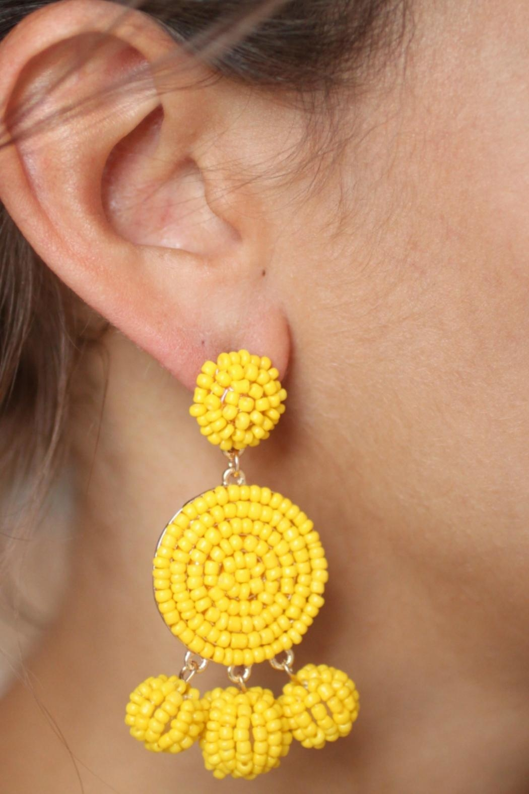 Gemma Collection Yellow Eliano Earrings - Front Full Image