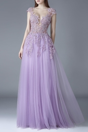 Gemy Maalouf Cap Sleeve Gown - Front cropped